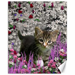 Emma In Flowers I, Little Gray Tabby Kitty Cat Canvas 11  X 14   by DianeClancy