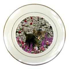 Emma In Flowers I, Little Gray Tabby Kitty Cat Porcelain Plates by DianeClancy
