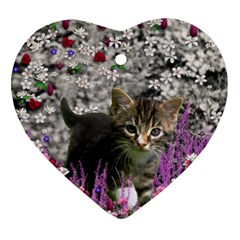Emma In Flowers I, Little Gray Tabby Kitty Cat Ornament (heart)  by DianeClancy
