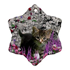 Emma In Flowers I, Little Gray Tabby Kitty Cat Ornament (snowflake)  by DianeClancy