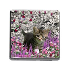 Emma In Flowers I, Little Gray Tabby Kitty Cat Memory Card Reader (square) by DianeClancy