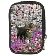 Emma In Flowers I, Little Gray Tabby Kitty Cat Compact Camera Cases by DianeClancy