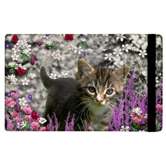 Emma In Flowers I, Little Gray Tabby Kitty Cat Apple Ipad 3/4 Flip Case by DianeClancy