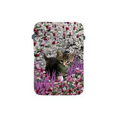 Emma In Flowers I, Little Gray Tabby Kitty Cat Apple Ipad Mini Protective Soft Cases by DianeClancy