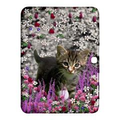Emma In Flowers I, Little Gray Tabby Kitty Cat Samsung Galaxy Tab 4 (10 1 ) Hardshell Case  by DianeClancy