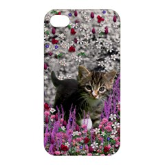 Emma In Flowers I, Little Gray Tabby Kitty Cat Apple Iphone 4/4s Hardshell Case by DianeClancy