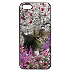 Emma In Flowers I, Little Gray Tabby Kitty Cat Apple Iphone 5 Seamless Case (black) by DianeClancy