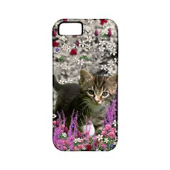 Emma In Flowers I, Little Gray Tabby Kitty Cat Apple Iphone 5 Classic Hardshell Case (pc+silicone) by DianeClancy