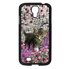 Emma In Flowers I, Little Gray Tabby Kitty Cat Samsung Galaxy S4 I9500/ I9505 Case (black) by DianeClancy