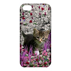 Emma In Flowers I, Little Gray Tabby Kitty Cat Apple Iphone 5c Hardshell Case by DianeClancy