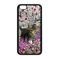 Emma In Flowers I, Little Gray Tabby Kitty Cat Apple Iphone 5c Seamless Case (black) by DianeClancy