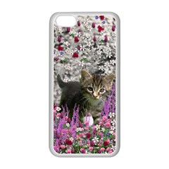 Emma In Flowers I, Little Gray Tabby Kitty Cat Apple Iphone 5c Seamless Case (white) by DianeClancy