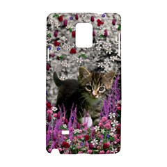 Emma In Flowers I, Little Gray Tabby Kitty Cat Samsung Galaxy Note 4 Hardshell Case by DianeClancy