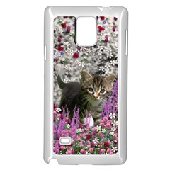 Emma In Flowers I, Little Gray Tabby Kitty Cat Samsung Galaxy Note 4 Case (white) by DianeClancy