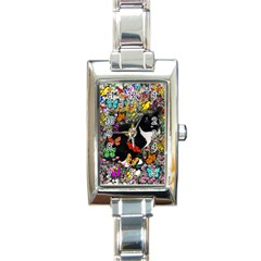 Freckles In Butterflies I, Black White Tux Cat Rectangle Italian Charm Watch by DianeClancy