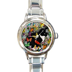 Freckles In Butterflies I, Black White Tux Cat Round Italian Charm Watch by DianeClancy