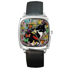 Freckles In Butterflies I, Black White Tux Cat Square Metal Watch by DianeClancy