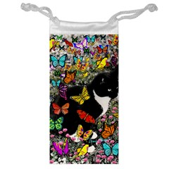 Freckles In Butterflies I, Black White Tux Cat Jewelry Bags by DianeClancy