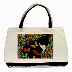 Freckles In Butterflies I, Black White Tux Cat Basic Tote Bag by DianeClancy