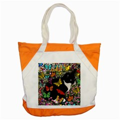 Freckles In Butterflies I, Black White Tux Cat Accent Tote Bag by DianeClancy