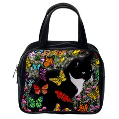 Freckles In Butterflies I, Black White Tux Cat Classic Handbags (one Side)