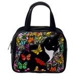 Freckles In Butterflies I, Black White Tux Cat Classic Handbags (One Side) Front