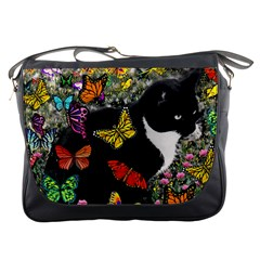 Freckles In Butterflies I, Black White Tux Cat Messenger Bags by DianeClancy