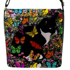 Freckles In Butterflies I, Black White Tux Cat Flap Messenger Bag (s) by DianeClancy