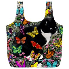 Freckles In Butterflies I, Black White Tux Cat Full Print Recycle Bags (l)  by DianeClancy