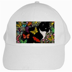Freckles In Butterflies I, Black White Tux Cat White Cap by DianeClancy