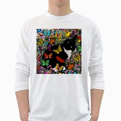 Freckles In Butterflies I, Black White Tux Cat White Long Sleeve T Shirts by DianeClancy