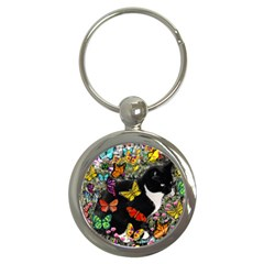 Freckles In Butterflies I, Black White Tux Cat Key Chains (round)  by DianeClancy