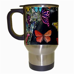 Freckles In Butterflies I, Black White Tux Cat Travel Mugs (white) by DianeClancy