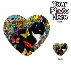 Freckles In Butterflies I, Black White Tux Cat Playing Cards 54 (heart)  by DianeClancy