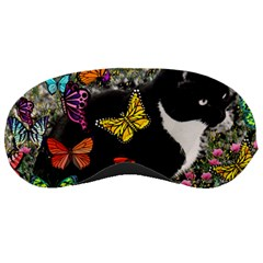 Freckles In Butterflies I, Black White Tux Cat Sleeping Masks by DianeClancy