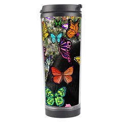 Freckles In Butterflies I, Black White Tux Cat Travel Tumbler by DianeClancy