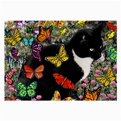 Freckles In Butterflies I, Black White Tux Cat Large Glasses Cloth by DianeClancy