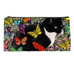 Freckles In Butterflies I, Black White Tux Cat Pencil Cases by DianeClancy