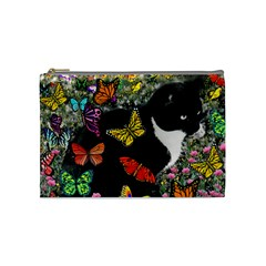Freckles In Butterflies I, Black White Tux Cat Cosmetic Bag (medium)  by DianeClancy