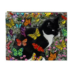 Freckles In Butterflies I, Black White Tux Cat Cosmetic Bag (xl) by DianeClancy