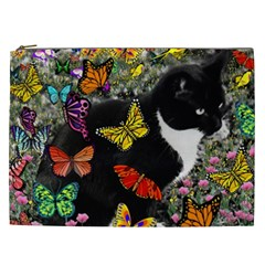 Freckles In Butterflies I, Black White Tux Cat Cosmetic Bag (xxl)  by DianeClancy
