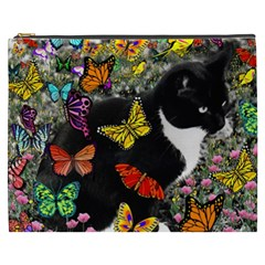 Freckles In Butterflies I, Black White Tux Cat Cosmetic Bag (xxxl)  by DianeClancy