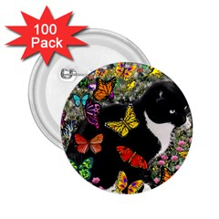 Freckles In Butterflies I, Black White Tux Cat 2 25  Buttons (100 Pack)  by DianeClancy