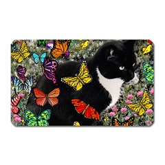 Freckles In Butterflies I, Black White Tux Cat Magnet (rectangular) by DianeClancy