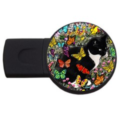 Freckles In Butterflies I, Black White Tux Cat Usb Flash Drive Round (4 Gb)  by DianeClancy