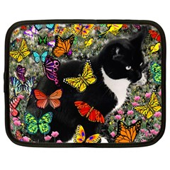 Freckles In Butterflies I, Black White Tux Cat Netbook Case (large) by DianeClancy