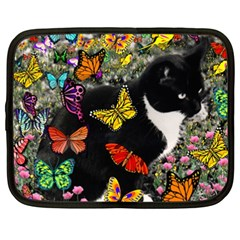 Freckles In Butterflies I, Black White Tux Cat Netbook Case (xxl)  by DianeClancy