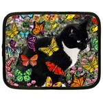 Freckles In Butterflies I, Black White Tux Cat Netbook Case (XXL)  Front