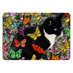 Freckles In Butterflies I, Black White Tux Cat Samsung Galaxy Tab 8 9  P7300 Flip Case by DianeClancy