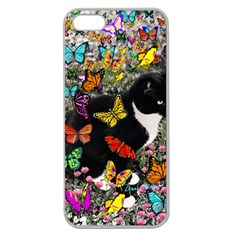 Freckles In Butterflies I, Black White Tux Cat Apple Seamless Iphone 5 Case (clear) by DianeClancy